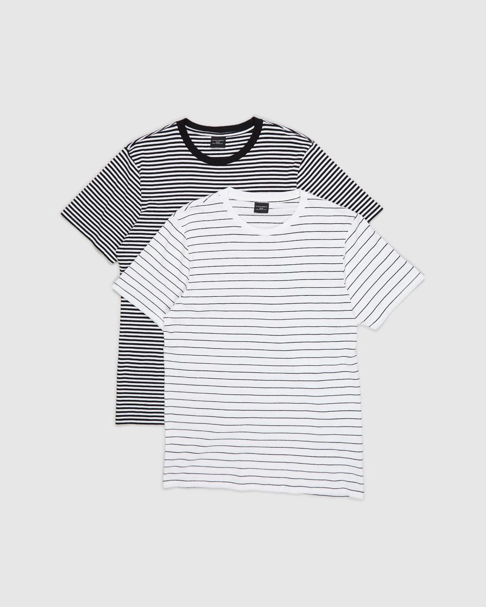 Cotton On - 2 Pack T Bar Premium T Shirt - T-Shirts & Singlets (White, Easy Stripe & Black & White 50/50 Stripe) 2-Pack T-Bar Premium T-Shirt