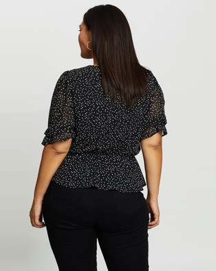 Atmos&Here Curvy Cindy Blouse - Tops (Black Spot)