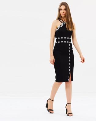 Karen Millen – Monochrome Lace Trim Pencil Dress Black & White