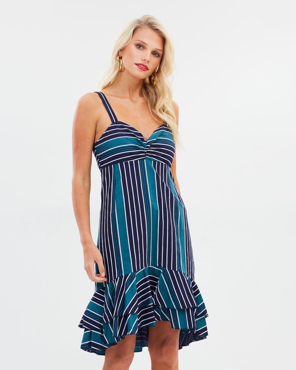 Atmos & Here Green Navy Stripe ICONIC EXCLUSIVE – Verona Ruffle Dress