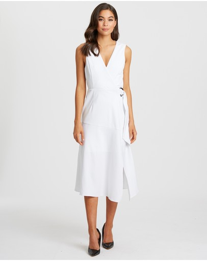 Willa Surrey Angled Hem Midi White W Blk Stripe