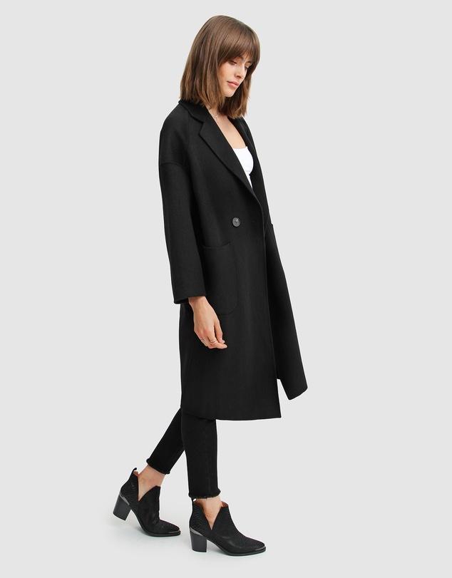 Women Publisher Double-Breasted Wool Blend Coat