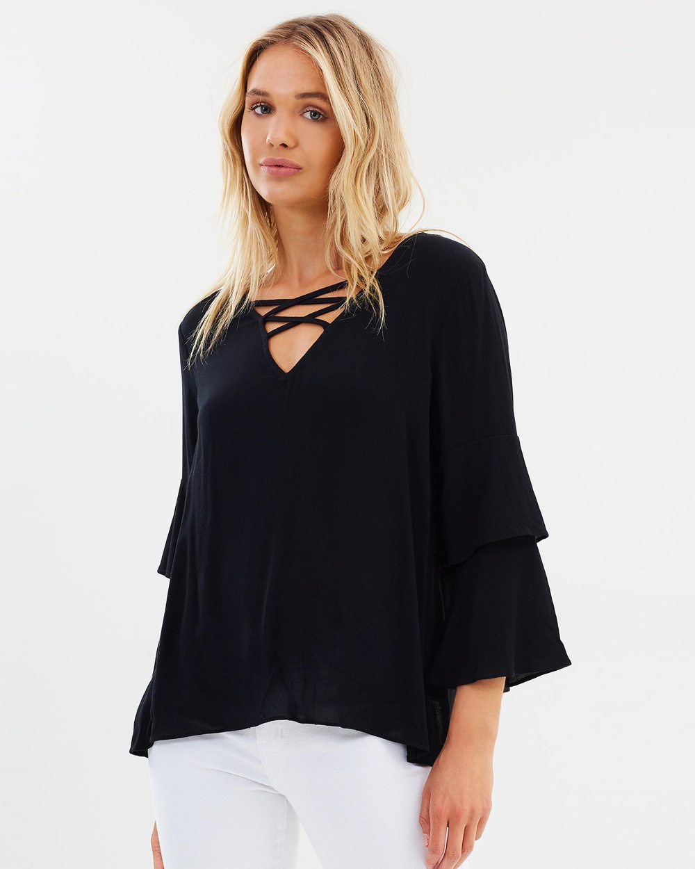 Sass Flossy Double Bell Blouse Tops Black Flossy Double Bell Blouse