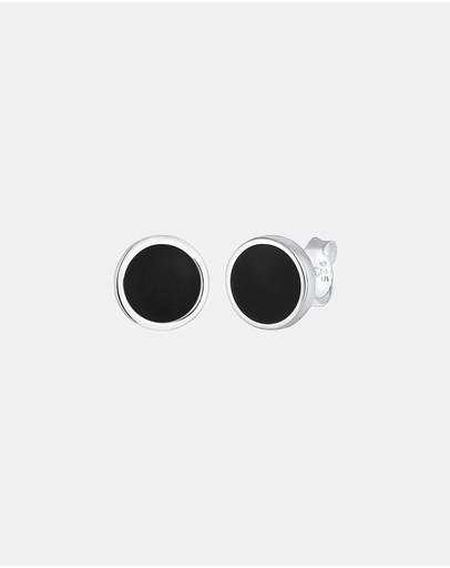 Kuzzoi Earrings Basic Circle Geo Enamel 925 Sterling Silver