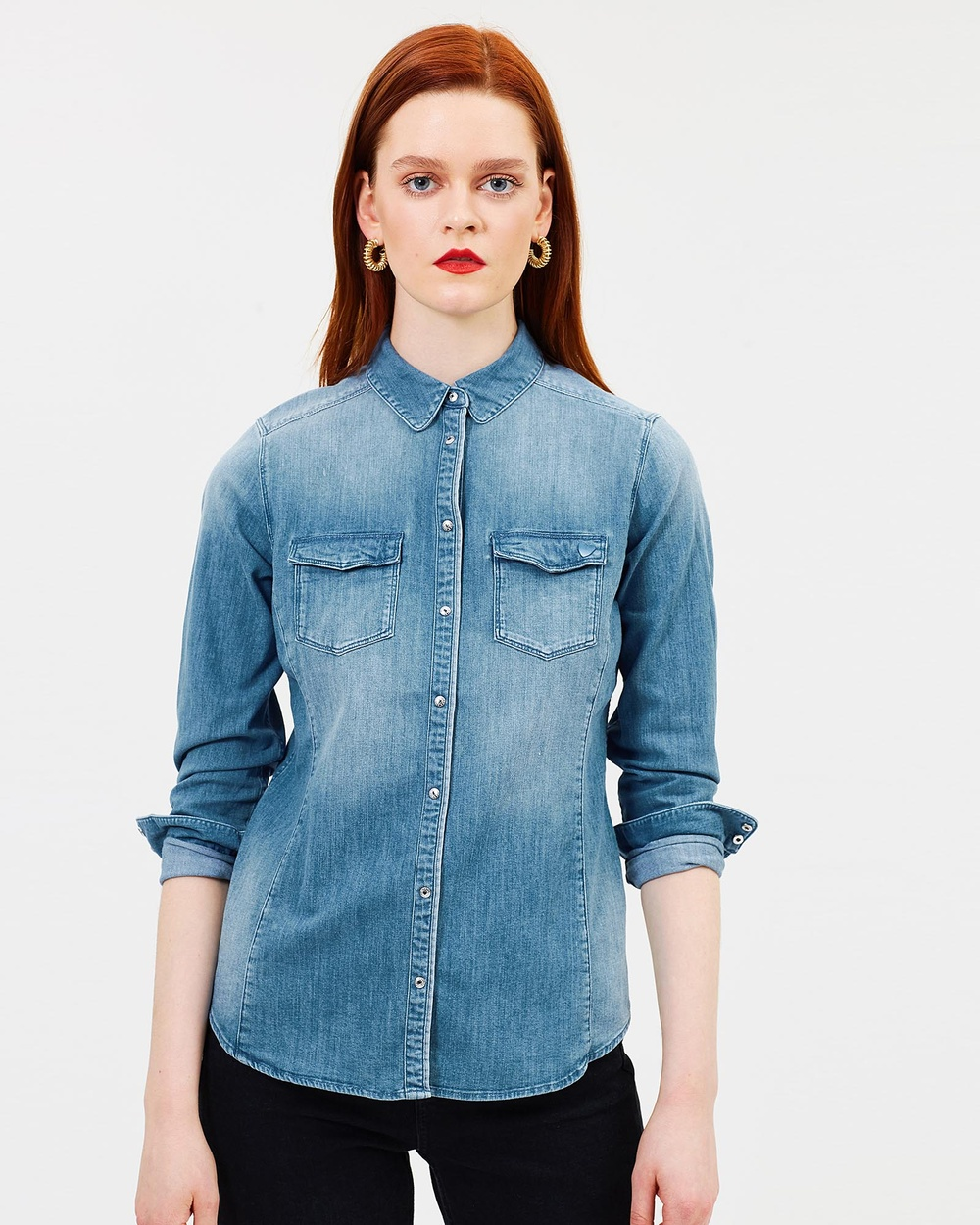 Maison Scotch Denim Fitted Western Shirt Tops Blue Denim Fitted Western Shirt