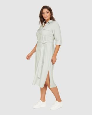 Forever New Curve Rory Curve Maxi Shirt Dress - Dresses (Soft Sage)