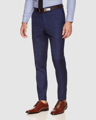 Oxford Byron Wool Stretch Check Trousers - Suits & Blazers (Blue)
