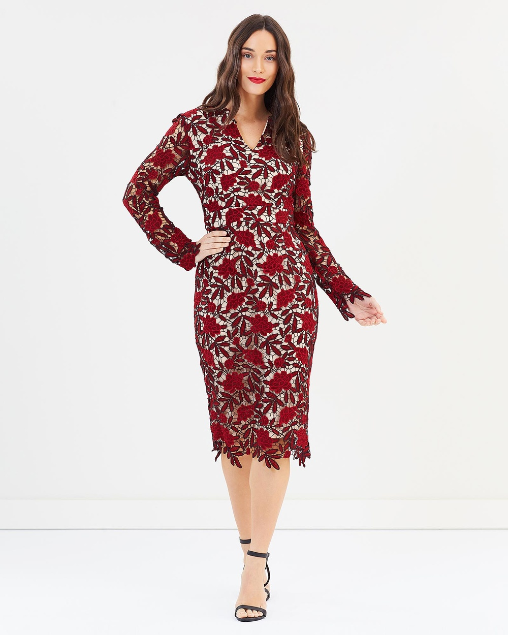 Pink Ruby Piper Long Sleeve Dress Dresses Nude & Red Piper Long Sleeve Dress
