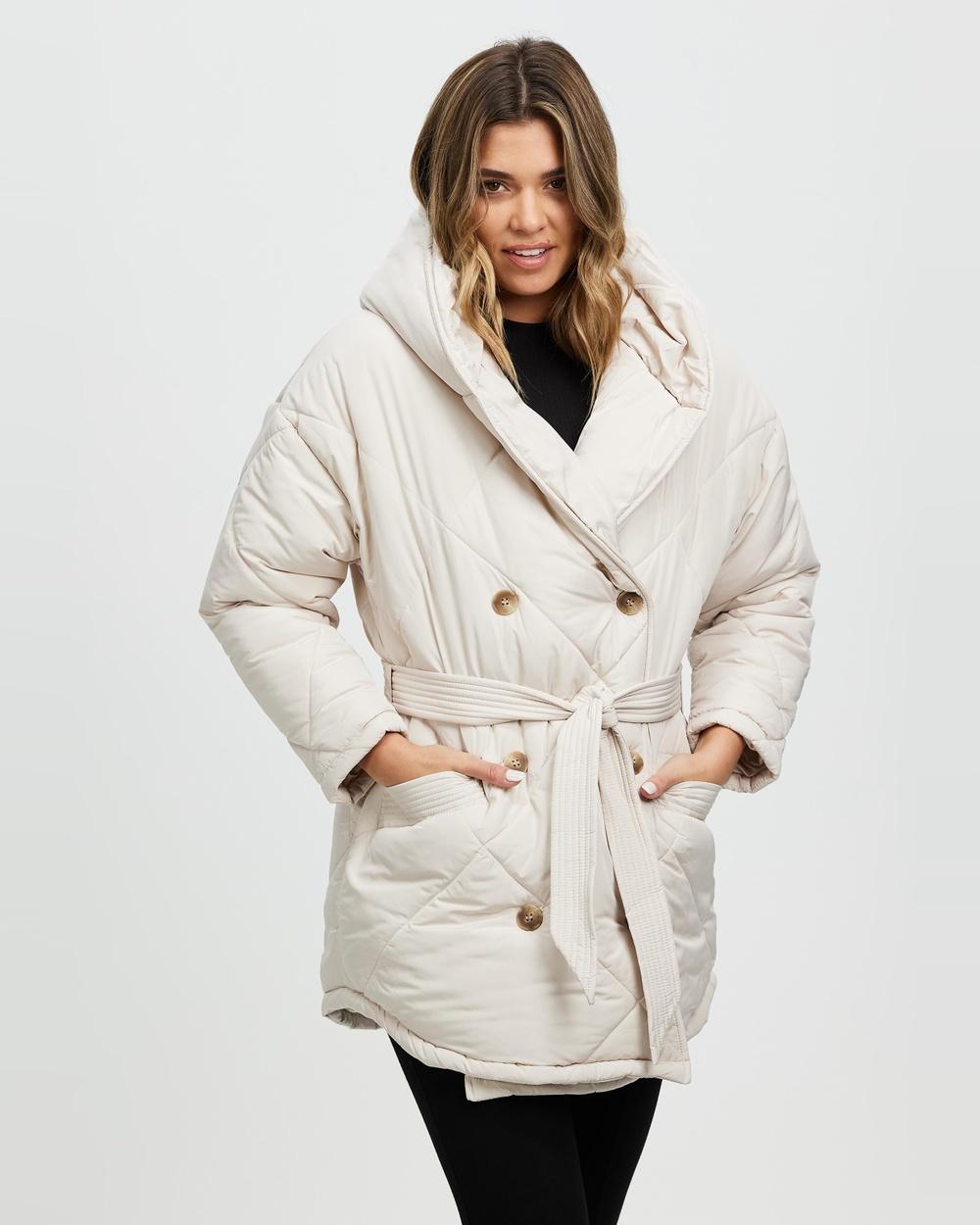 Ceres Life Longline Cocoon Puffer Jacket Coats & Jackets Stone Australia