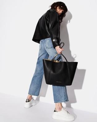 Armani Exchange Pebble PU Reversible Tote Bag - Bags (Black & Gold)
