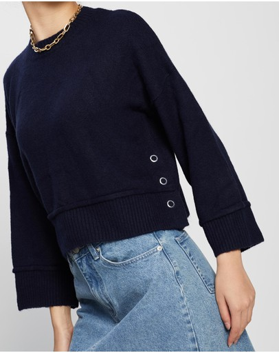 Topshop Super Soft Jumper With Popper Side Navy Blue