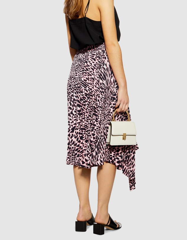 TOPSHOP Petite - Animal Pleat Midi Skirt