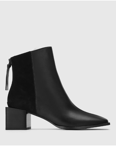 Wittner - Aldwin Leather & Suede Square Heel Ankle Boots