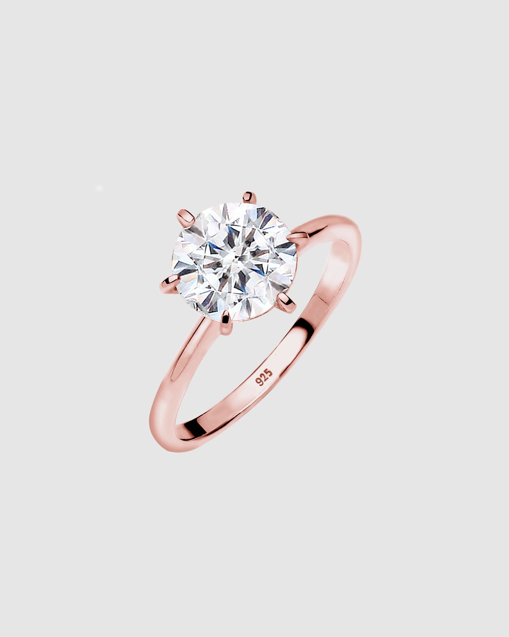 Elli Jewelry Ring 925 Sterling Silver Rose Gold Plated Crystal Jewellery Rosegold Gold-Plated