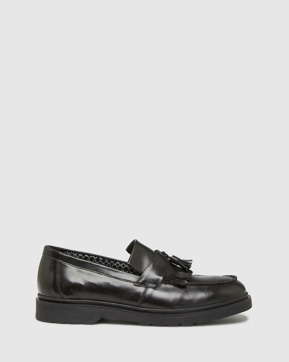 Oxford Remy Leather Penny Loafer Shoes Flats Black