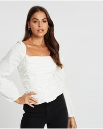 Missguided - Poplin Ruched Square Neck Top