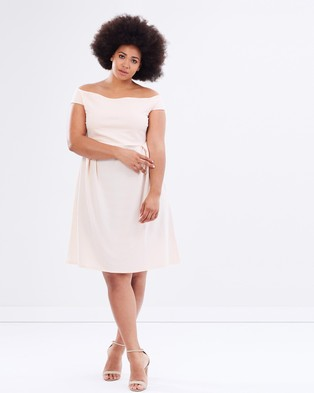 DP Curve – Textured Bardot Fit and Flare Dress – Dresses (Blush)