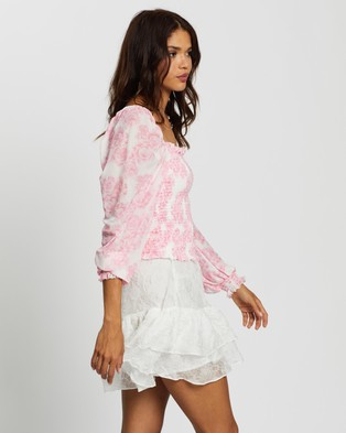 Glamorous Floral Shirred Long Sleeve Top - Tops (Pink Floral)