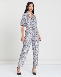 Missguided - Snake Printed Shirt Jumpsuit