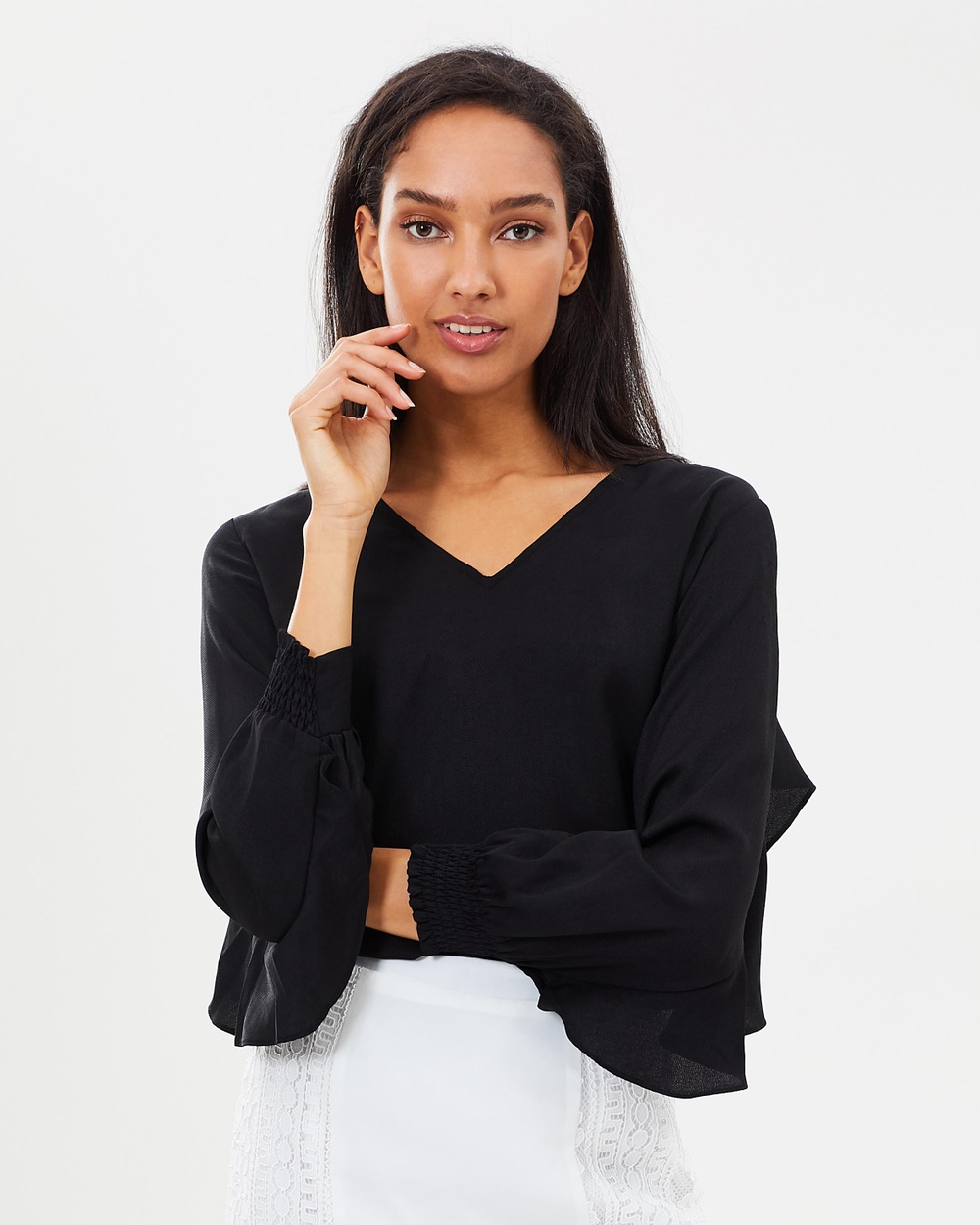 Atmos & Here ICONIC EXCLUSIVE Joelle Ruffle Top Tops Black ICONIC EXCLUSIVE Joelle Ruffle Top