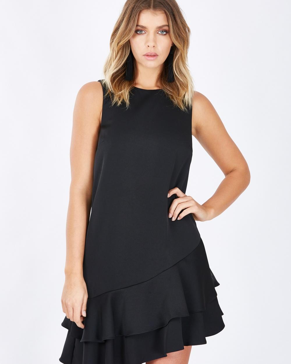 Calli Melina Frill Hem Dress Dresses Black Melina Frill-Hem Dress