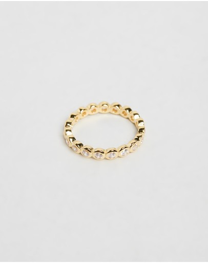 Bianc Cubic Zirconia Bezel Eternity Ring Sterling Silver Gold Plated