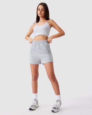 Factorie Hype Fleece Shorts - High-Waisted (Grey Marle)
