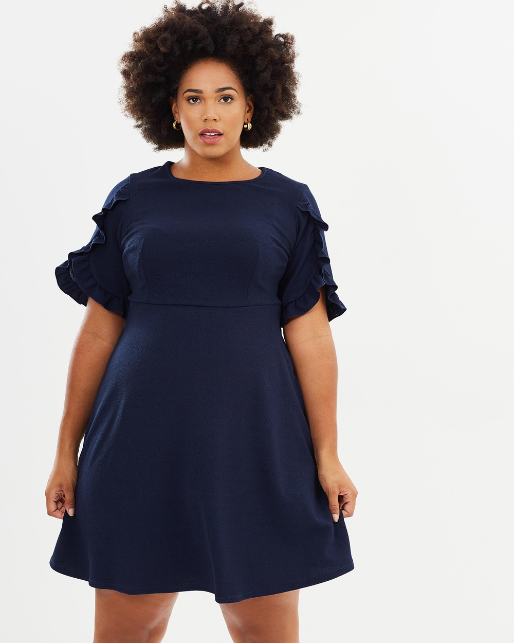 DP Curve Ruffle Dress Dresses Navy Ruffle Dress