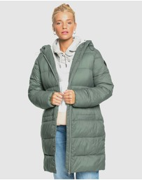 Roxy - Womens Crest Of The Wave Sherpa Hooded Puffer Jacket