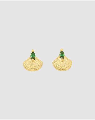 Dear Addison Emerald Sea Earrings Gold Plated
