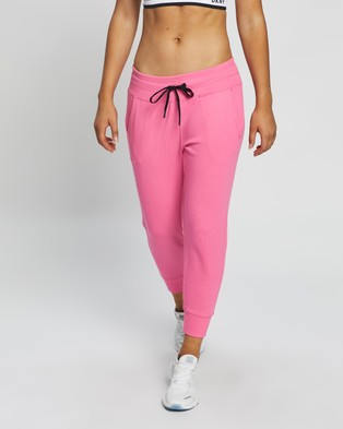 DKNY Striped Logo Cropped Joggers - Track Pants (Laser Pink)