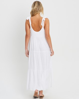The Fated Kicker Panelled Midi - Dresses (Ivory)