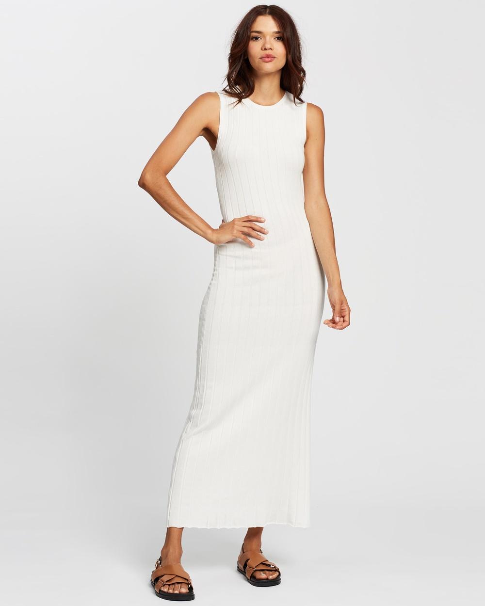 AERE Sunray Pleat Dress Bodycon Dresses Ivory Australia