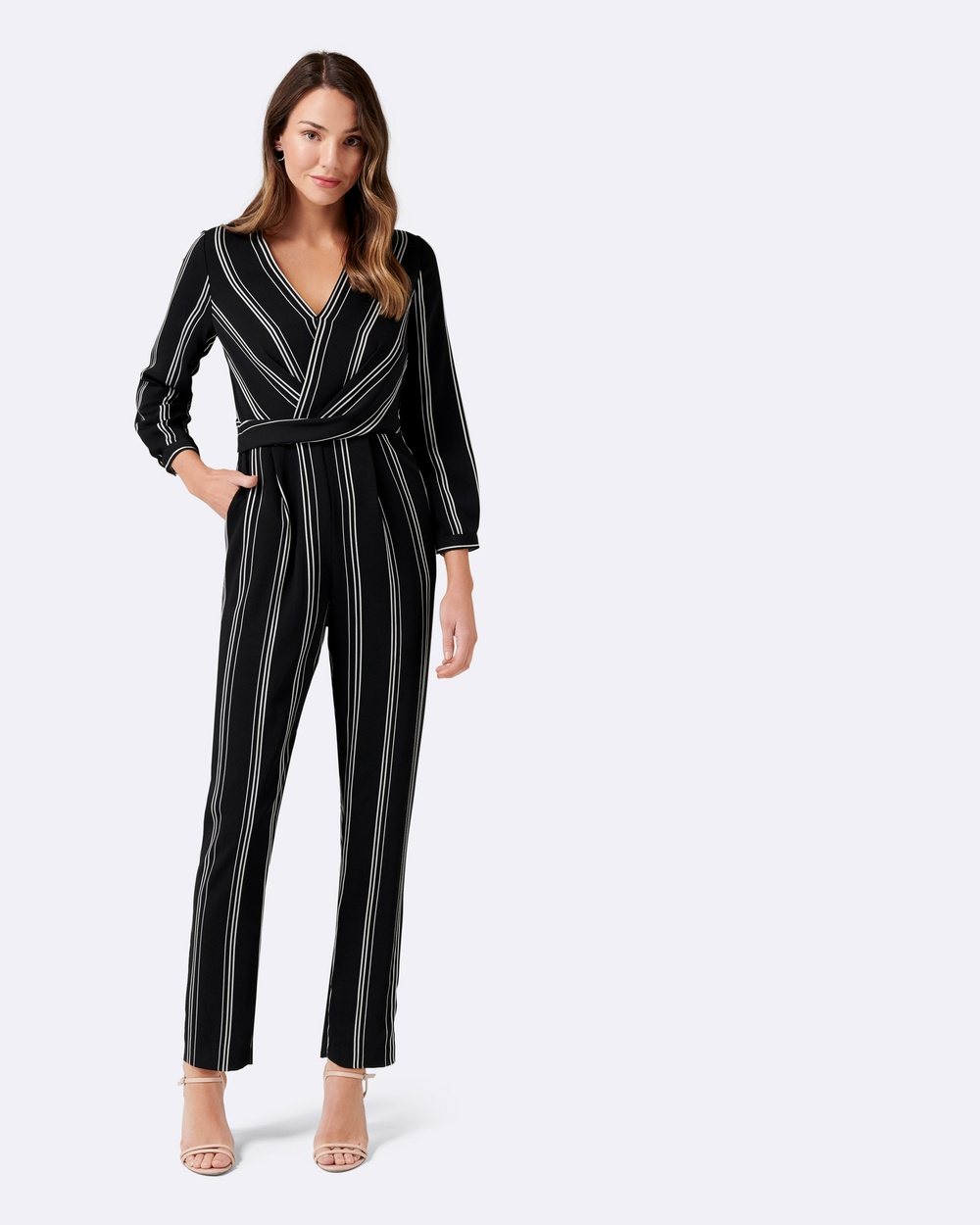 Forever New Logan Twist Front Stripe Jumpsuit Dresses Stripe Logan Twist Front Stripe Jumpsuit