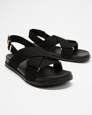 AERE Linen Crossover Footbed Sandals - Sandals (Black Linen)