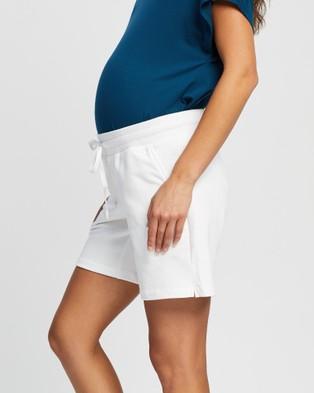 Angel Maternity Maternity Cotton Summer Shorts - Shorts (White)