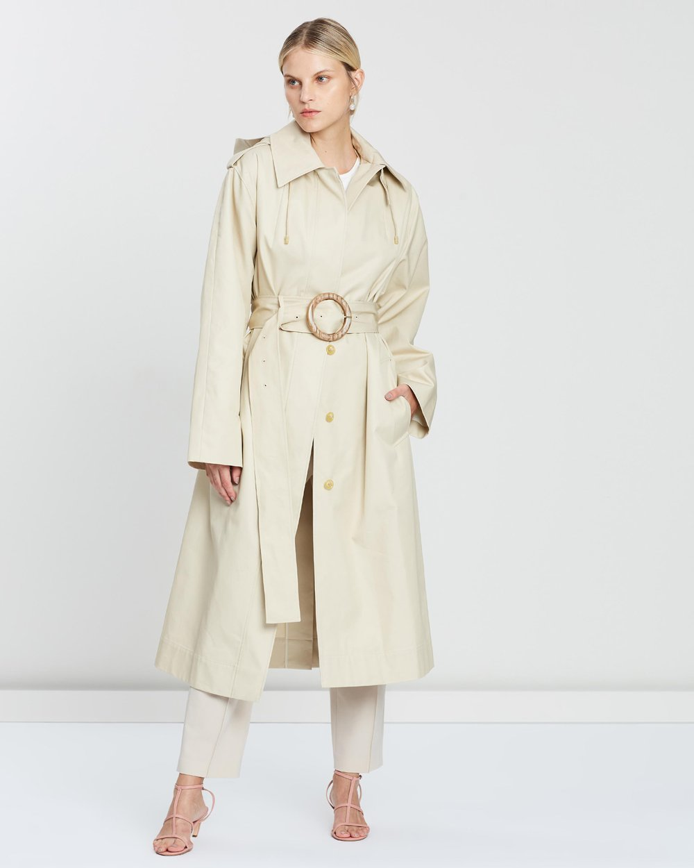3fe4ad3a02e0 Carbon Hooded Cotton Gabardine Trench Coat by Joseph Online | THE ICONIC |  Australia
