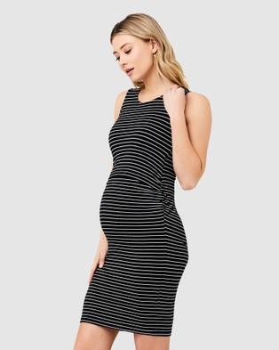 Ripe Maternity Mia Sleeveless Nursing Dress - Dresses (Black / Flint)
