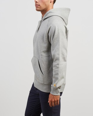 Carhartt Hooded Chase Sweatshirt - Hoodies (Grey Heather & Gold)