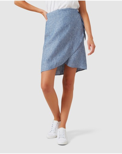 French Connection Linen Wrap Mini Skirt Blue