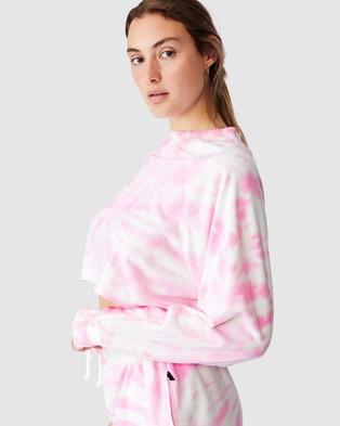 Cotton On Body Active - Lifestyle Raglan Fleece Crop Long Sleeve T-Shirts (Strawberry Milkshake Tie Dye)