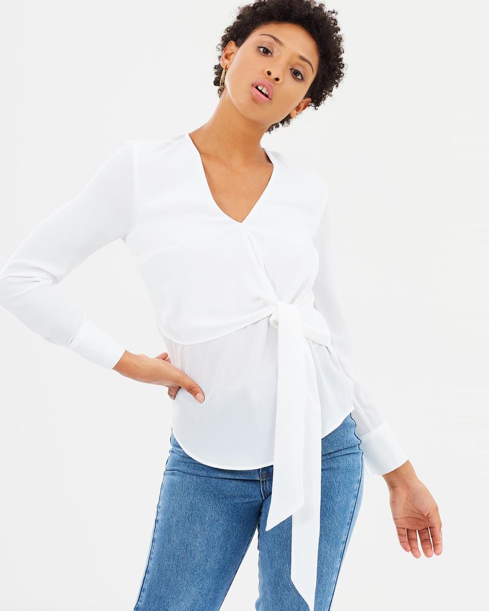 Warehouse Long Sleeve Wrap Top Tops Cream Long Sleeve Wrap Top