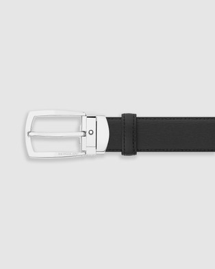 Montblanc Trapeze Shiny Stainless Steel Pin Buckle Belt - Belts (Black)