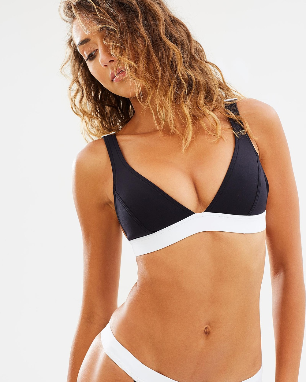 Bondi Born Moonbeam Coast Walk Bra Bikini Tops Black, White Moonbeam Coast Walk Bra