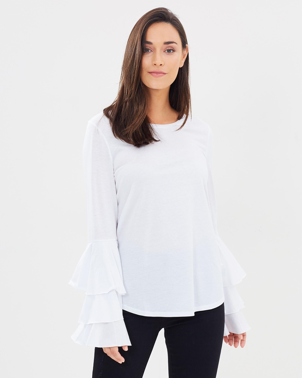 Decjuba Bridgit Ruffle Sleeve Top Tops Bright White Bridgit Ruffle Sleeve Top