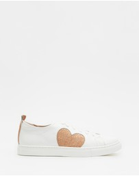 Walnut Melbourne - Heart Leather Sneakers