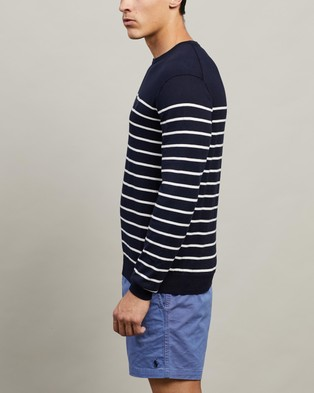 Polo Ralph Lauren ICONIC EXCLUSIVE   Stripe Crew Neck Long Sleeve Sweater - Jumpers & Cardigans (Navy & White)
