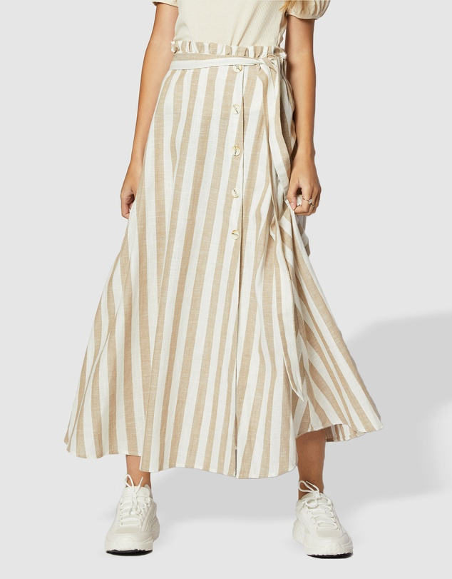 ids - Willow Striped Button Up Maxi Skirt
