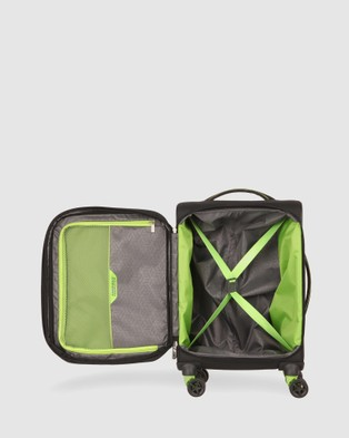 American Tourister - Applite 4Security Spinner 55 20 EXP TSA - Travel and Luggage (Black & Green) Applite 4Security Spinner 55-20 EXP TSA