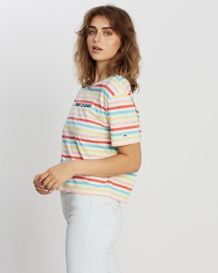 Tommy Jeans Summer Stripe Logo Tee - T-Shirts & Singlets (Frozen Lemon Multi)
